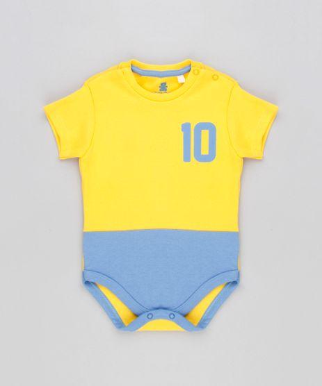 Body-Infantil-Brasil-Camisa-10-com-Recorte-Manga-Curta-Decote-Redondo-Amarelo-9154228-Amarelo_1