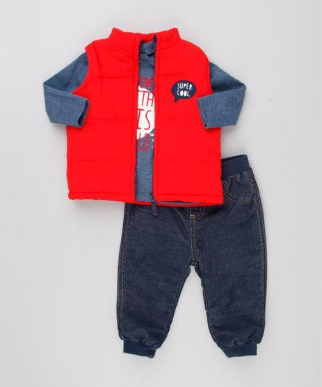 Conjunto-Infantil-de-Colete-Puffer--Super-Cool----Camiseta-Manga-Longa-Azul-Marinho---Calca-com-Forro-em-Algodao---Sustentavel-Azul-Escuro-8890868-Azul_Escuro_1