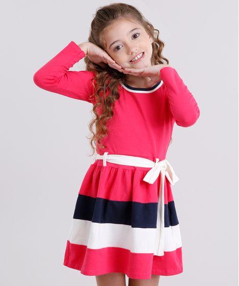 42b7b0972 Vestido Infantil com Laço Manga Longa Rosa Escuro - cea