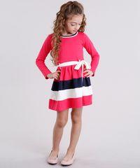 7f7f50469 Vestido Infantil com Laço Manga Longa Rosa Escuro - ceacollections
