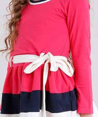 34bec90f6 ... Vestido-Infantil-com-Laco-Manga-Longa-em-Algodao-. Vestido Infantil com Laço  Manga Longa Rosa Escuro