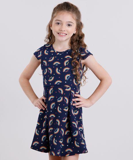Vestido-Infantil-Estampado-de-Arco-Iris-com-Tiras-Manga-Curta-Azul-Marinho-9140690-Azul_Marinho_1