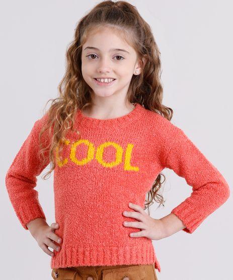 Sueter-infantil--Cool--em-Trico-Desfiado-Manga-Longa-Decote-Redondo-Coral-8862624-Coral_1
