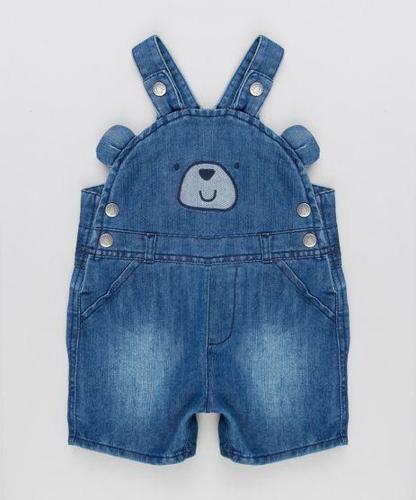 Jardineira-Jeans-Infantil-Urso-com-Orelhinhas-em-Algodao---Sustentavel-Azul-Escuro-8950642-Azul_Escuro_1