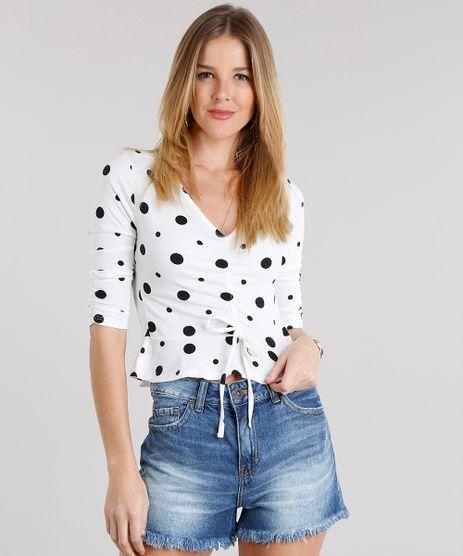 Blusa-Feminina-Cropped-Estampada-de-Poa-com-Babados-Decote-V--Off-White-9115883-Off_White_1