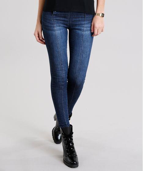 e77947287 Calça Jeans Feminina Cigarrete Sawary com Botões Azul Escuro - cea