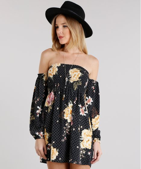 Black Friday Vestido Feminino Ciganinha Estampado Floral