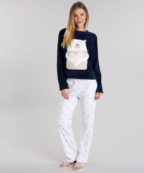 Pijama-Feminino-Urso-em-Fleece-Manga-Longa-Azul-Marinho-8901845-Azul_Marinho_1