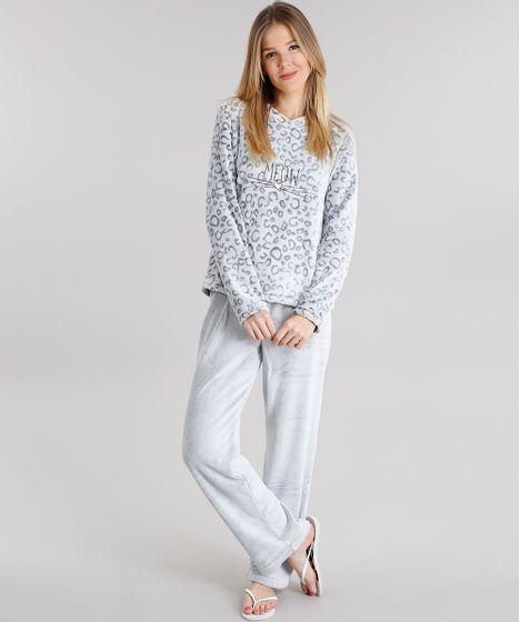 42a9b308e Pijama Feminino Estampado Animal Print em Fleece Manga Longa Cinza - cea