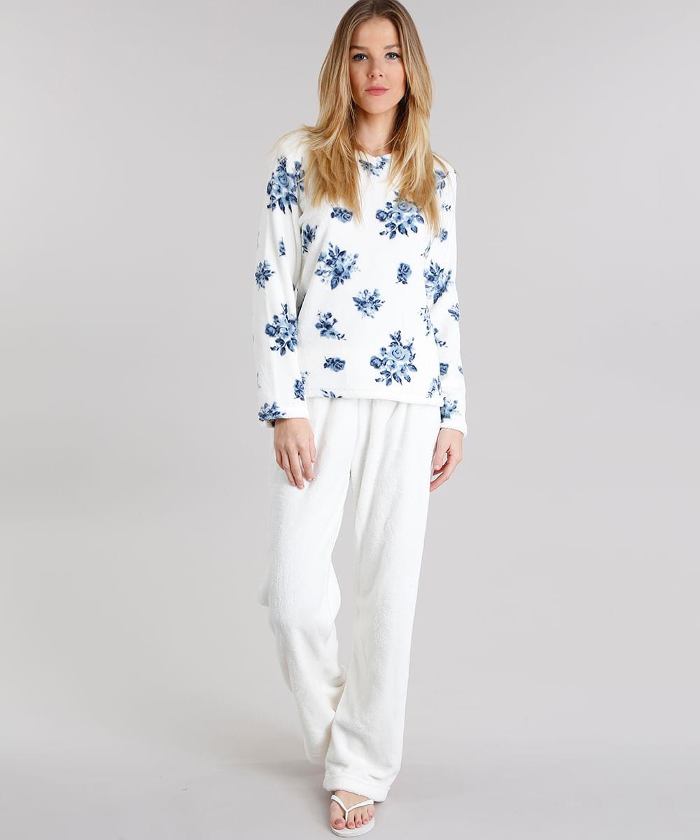 d06c947ce Pijama Feminino Estampado Floral em Fleece Manga Longa Off White - cea