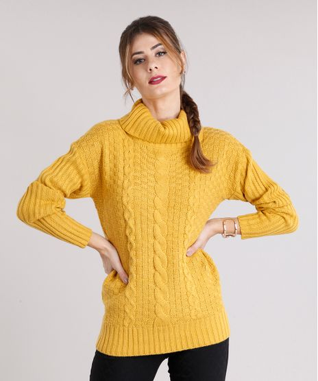 8a8bc3f26b Sueter-Feminino-Gola-Alta-em-Trico-Cable-Amarelo-
