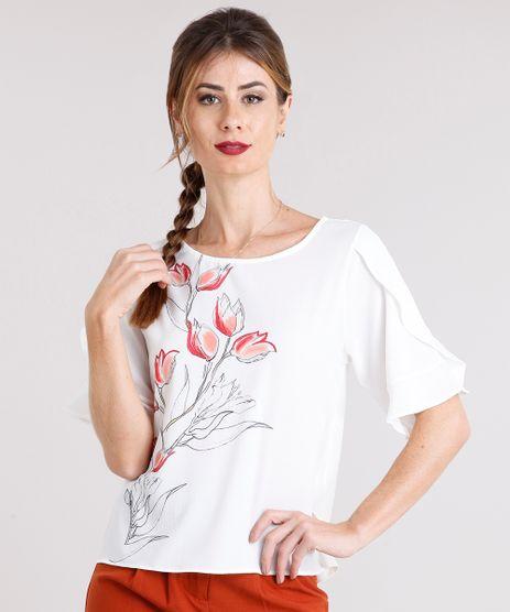 Blusa-Feminina-Ampla-Manga-Curta-com-Babados-e-Estampa-Floral-Decote-Redondo-Off-White-9111850-Off_White_1