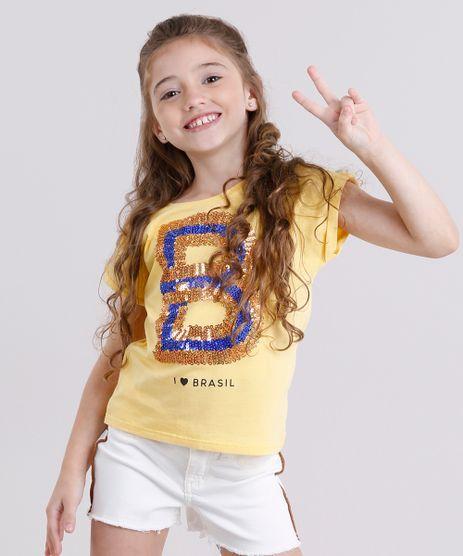 Blusa-Infantil-Brasil-com-Paetes-Manga-Curta-Decote-Redondo-em-Algodao---Sustentavel-Amarela-9169160-Amarelo_1