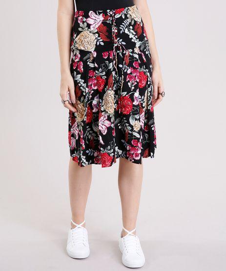 Saia-Midi-Feminina-Estampada-Floral-com-Lace-UP-Preta-8898672-Preto_1