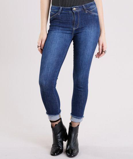 Calca-Jeans-Feminina-Cropped-Sawary-com-Barra-Dobrada-Desfiada-Azul-Escuro-9162716-Azul_Escuro_1