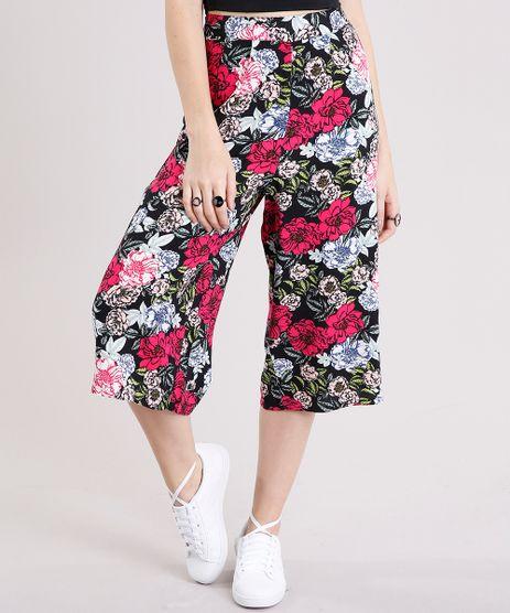 Calca-Feminina-Pantacourt-Estampada-Floral-Preta-8903740-Preto_1