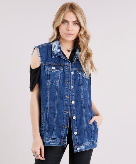 Colete-Jeans-Feminino-Oversized-Destroyed-Azul-Escuro-9102258- 49e58d1f28b34