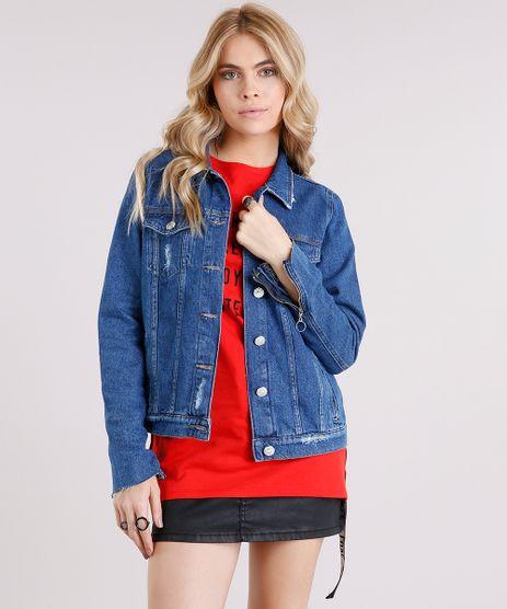 Jaqueta-Jeans-Feminina-Destroyed-com-Ziper-na-Manga-Azul-Escuro-9113171-Azul_Escuro_1