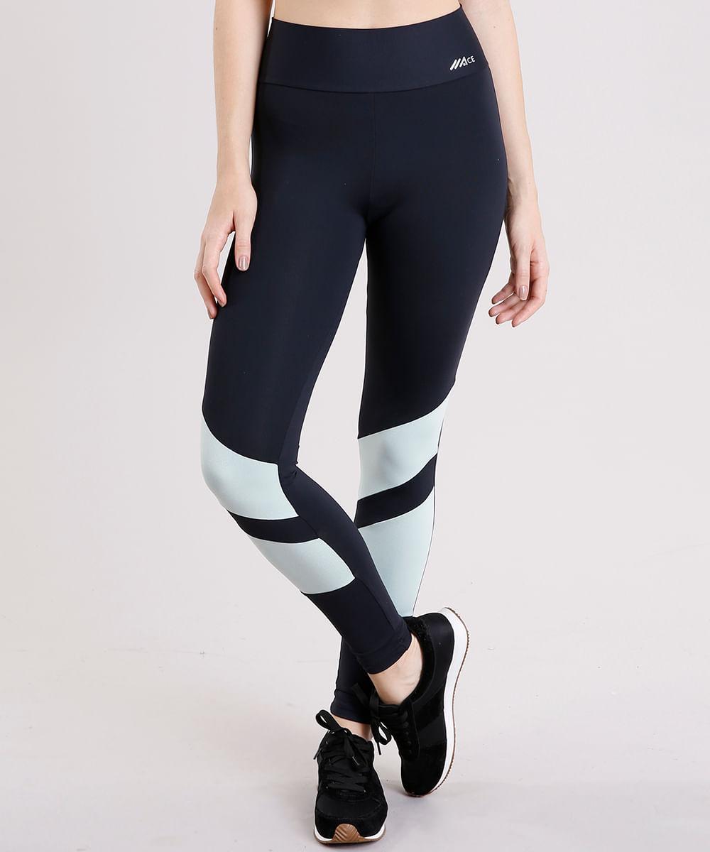 a0f65393e Calça Legging Feminina Esportiva Ace com Recortes com Proteção UV50+ ...