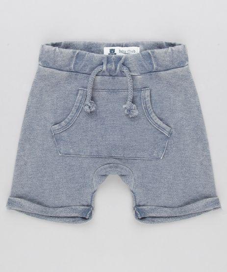 Short-Infantil-em-Moletom-com-Bolso-Canguru-em-Algodao---Sustentavel-Cinza-8870253-Cinza_1