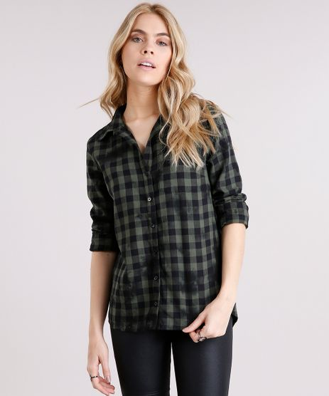 Camisa-Feminina-Xadrez-com-Bolso-Manga-Longa-Verde-Militar-8692636-Verde_Militar_1