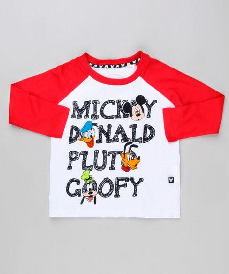 Camiseta Infantil Raglan Turma do Mickey Manga Longa Gola Careca ... 51f46adb59095