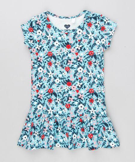 c319764e8 Menor preço em Vestido Infantil Estampado Floral com Babado Manga Curta  Decote Redondo Azul Claro