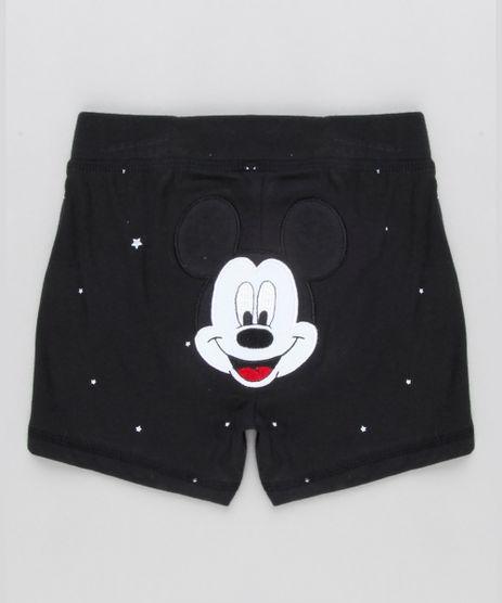 Short-Infantil-Mickey-Estampado-de-Estrelas-em-Algodao---Sustentavel-Preto-8928653-Preto_1