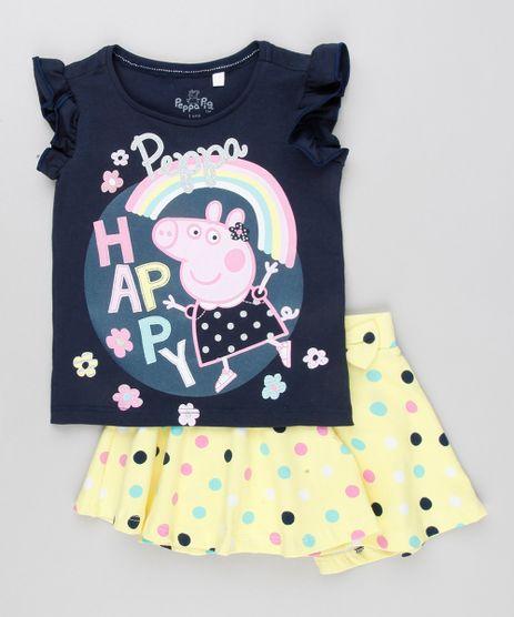 Conjunto-Infantil-de-Blusa-Peppa-Pig-Manga-Curta-Azul-Marinho---Short-Saia-Estampado-de-Poa-com-Laco-em-Algodao---Sustentavel-Amarelo-9079362-Amarelo_1