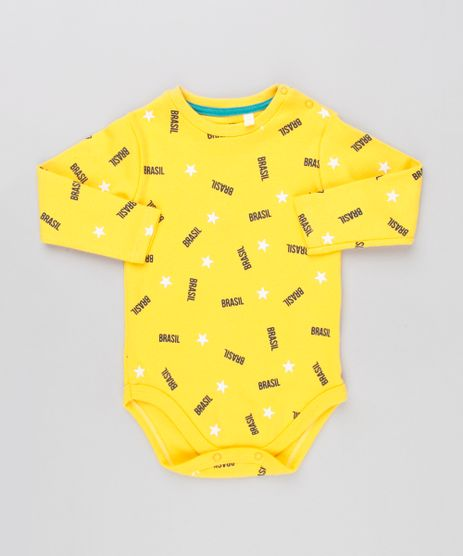 Body-Infantil-Brasil-Estampado-de-Estrelas-Manga-Longa-Decote-Redondo-Amarelo-9154238-Amarelo_1