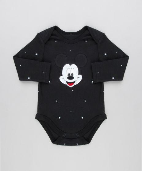 Body-Infantil-Mickey-Estampado-de-Estrelas-Manga-Longa-Gola-Redonda-em-Algodao---Sustentavel-Preto-8928697-Preto_1