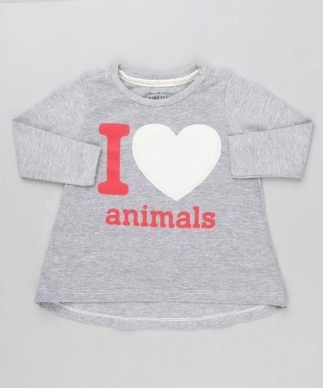 Blusa-Infantil--I-Love-Animal--com-Coracao-Manga-Longa-Decote-Redondo-Cinza-Mescla-9140900-Cinza_Mescla_1