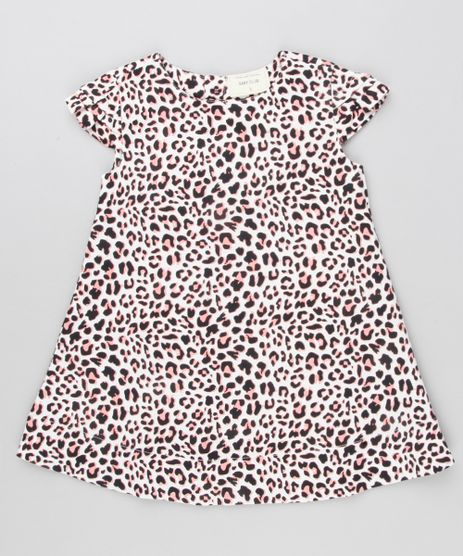 Vestido-Infantil-Estampado-Animal-Print-Manga-Curta-Decote-Redondo-Bege-8877301-Bege_1