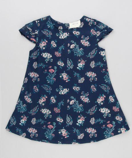 Vestido-Infantil-Estampado-Floral-Manga-Curta-Decote-Redondo-Bege-8877243-Bege_1