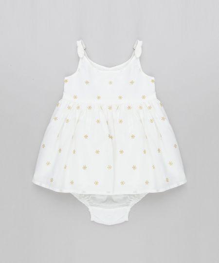 9669f1fd9 Vestido Infantil Bordado de Lurex com Alça Fina + Calcinha Off White - cea