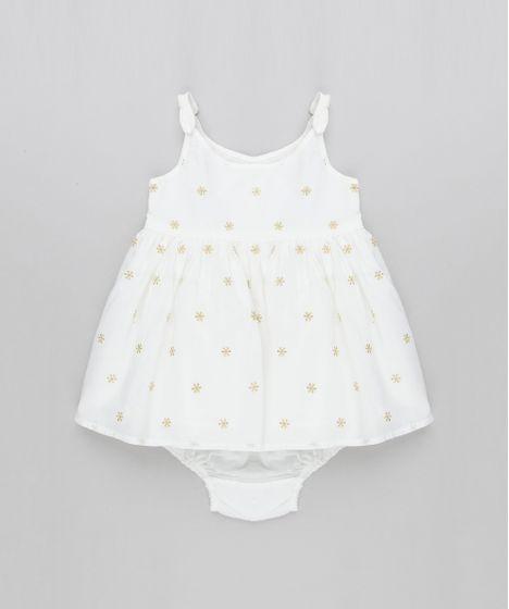 711523299 Vestido Infantil Bordado de Lurex com Alça Fina + Calcinha Off White ...