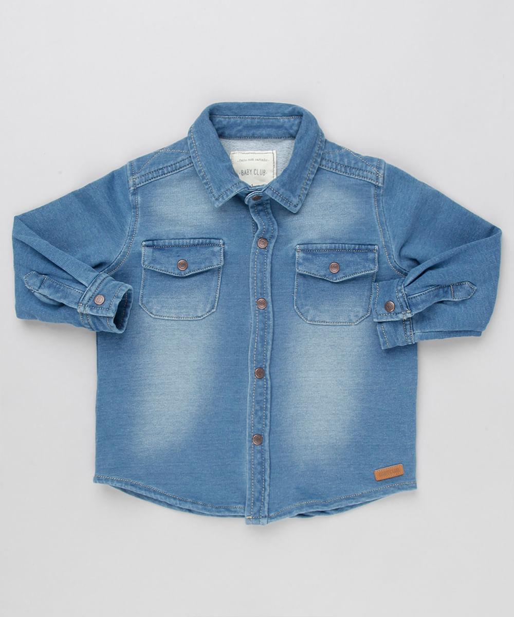 d880f5cc59316 Camisa Jeans Infantil em Moletom Manga Longa com Bolsos Azul Médio - cea