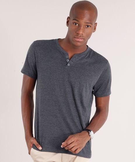 Camiseta-Masculina-Basica-com-Botoes-Manga-Curta-Cinza-Mescla-Escuro-8548133-Cinza_Mescla_Escuro_1