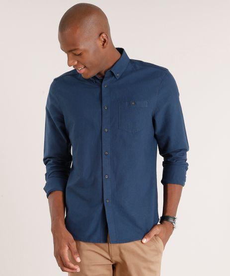 Camisa-Masculina-Comfort-com-Bolso-Manga-Longa-Azul-Marinho-8860646-Azul_Marinho_1