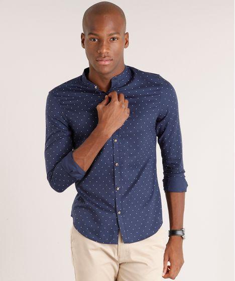 Camisa Masculina Slim Estampada com Gola Padre Manga Longa Azul ... f6be78f1622f0
