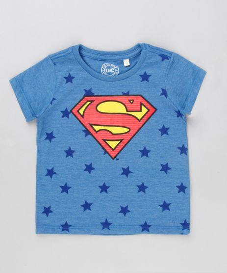 Camiseta-Infantil-Super-Homem-Estampada-de-Estrelas-Manga-Curta-Gola-Careca-Azul-8529862-Azul_1