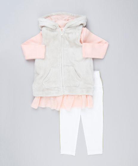 Conjunto-Infantil-de-Colete-de-Pelo-com-Capuz---Blusa-Manga-Longa-com-Tule-Coral---Calca-Legging-com-Vivo-Off-White-8898283-Off_White_1