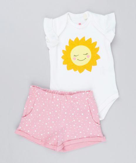 Conjunto-Infantil-de-Body-Sol-Sem-Manga-Off-White---Short-Estampado-de-Poa-Rosa-9154641-Rosa_1