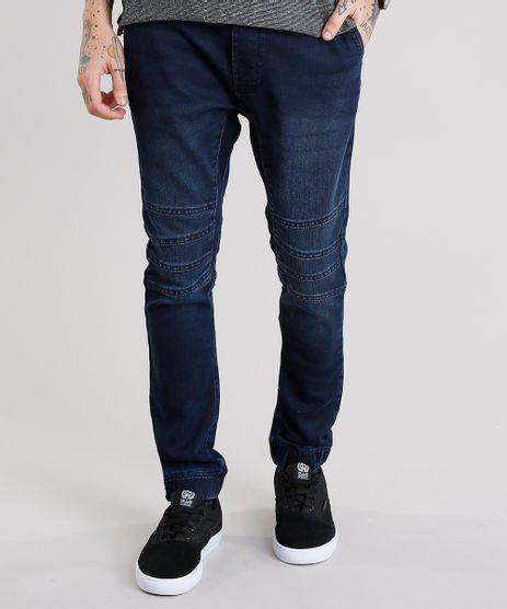 Calca-Jeans-Masculina-Jogger-em-Moletom-com-Elastico-na-Barra-Azul-Escuro-9110308-Azul_Escuro_1