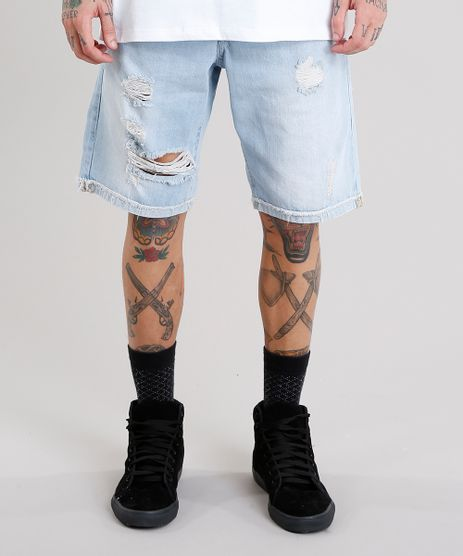 Bermuda-Jeans-Masculina-Reta-Destroyed-com-Bolsos-Azul-Claro-9129268-Azul_Claro_1