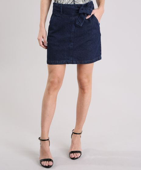 Saia-Jeans-Feminina-com-Faixa-de-Amarracao-Curta-com-Bolsos-Azul-Escuro-9133700-Azul_Escuro_1