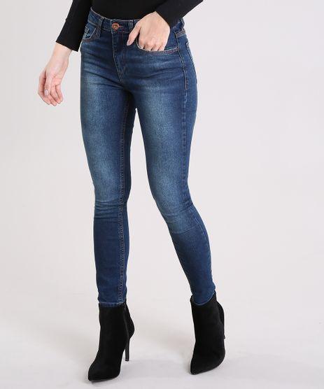 Calca-Jeans-Feminina-Cigarrete-Cintura-Alta-Azul-Escuro-9012001-Azul_Escuro_1