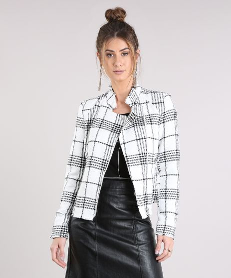 Jaqueta-Feminina-de-Tweed-Xadrez-com-Bolsos-Off-White-9033573-Off_White_1