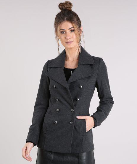 Casaco-Feminino-Trench-Coat-com-Botoes-Cinza-Mescla-Escuro-8485134-Cinza_Mescla_Escuro_1