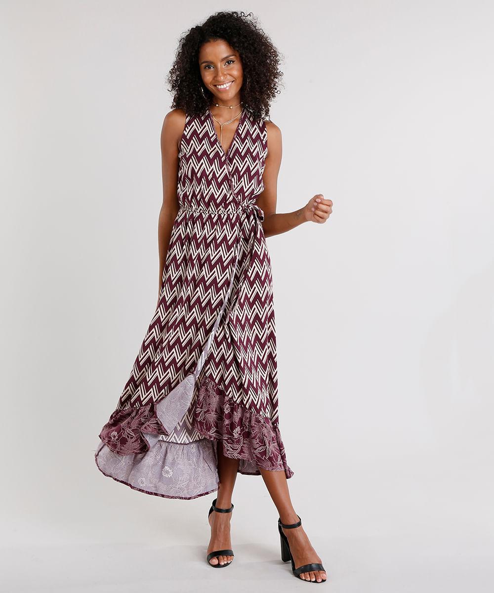 8441948a6a Vestido Feminino Longo Transpassado Estampado Geométrico Decote V Vinho